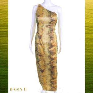 BASIX II Yellow/Green Snake Print 1Shoulder Dress